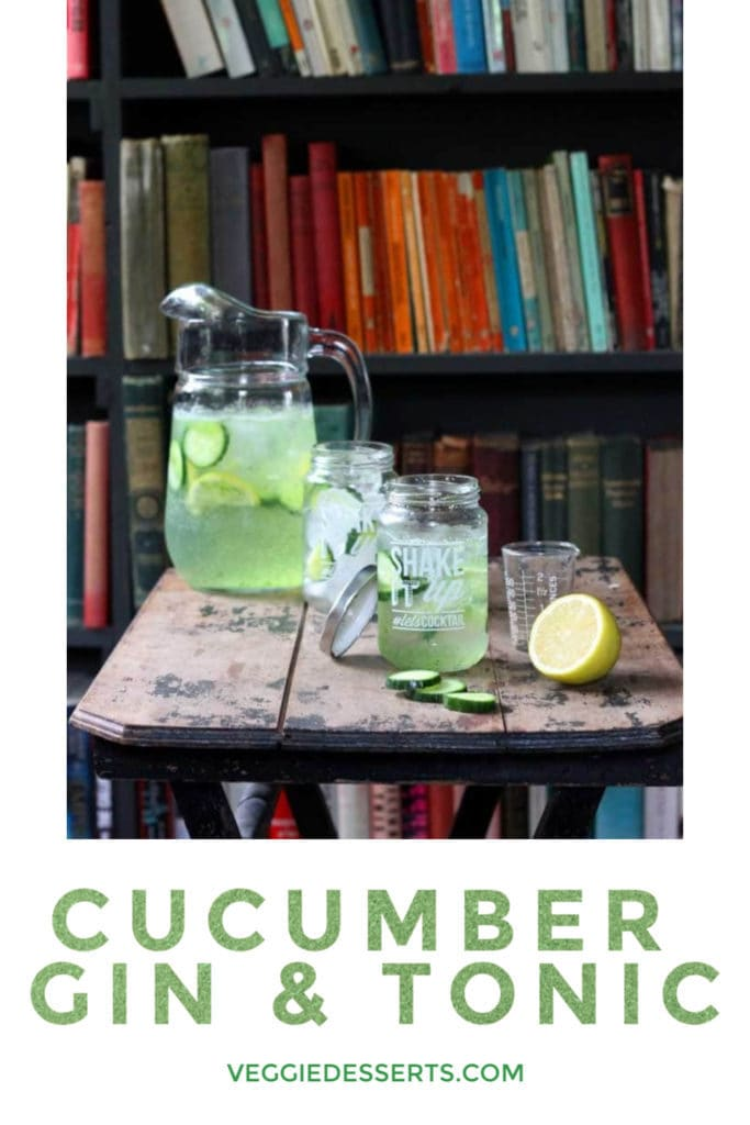pinnable image for cucumber gin and tonic cocktail recipe