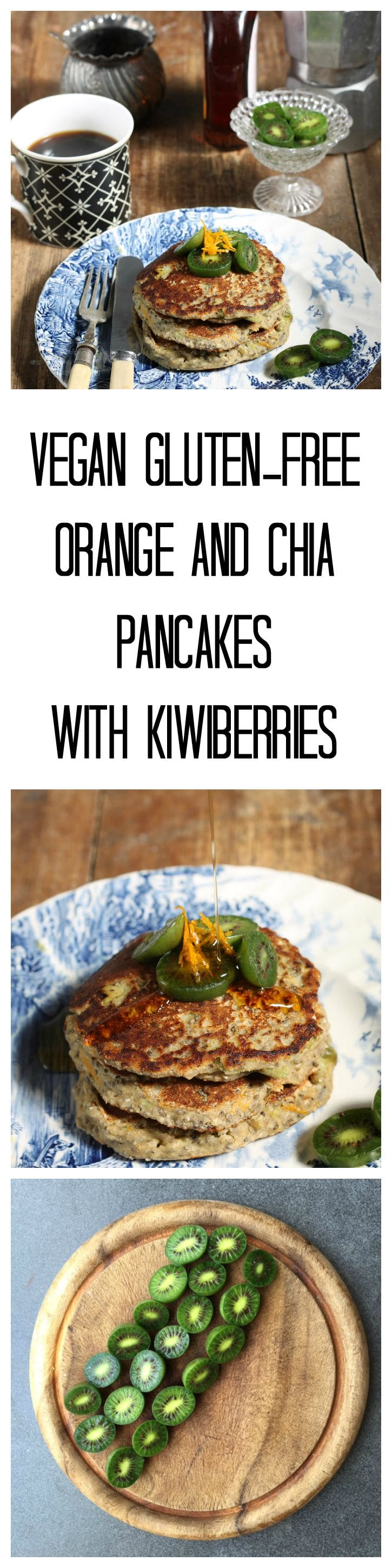 Zesty Orange and Chia Pancakes with Kiwiberries (vegan, gluten-free) | Veggie Desserts Blog
