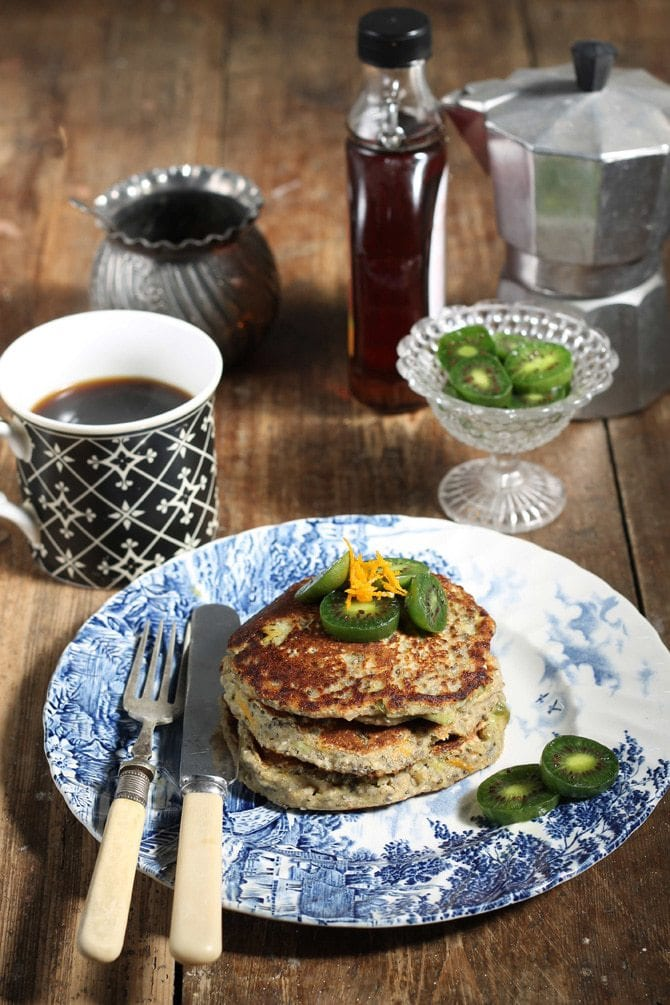 Chia pancakes with oat flour are vegan and gluten-free. They're light and fluffy with a tasty zing with orange juice and zest in the batter.