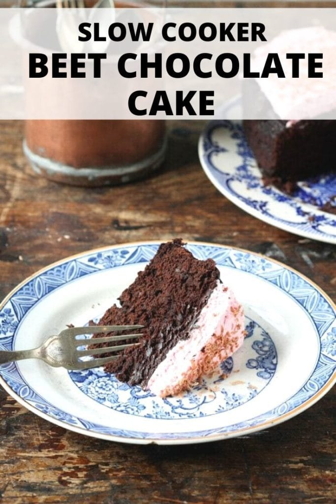 Pinnable image for Slow Cooker Beet Chocolate Cake
