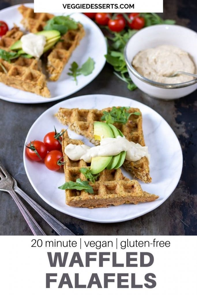 Plate with a falafel waffle with avocado and hummus, text ready 20 minutes, vegan, gluten free Waffled Falafels.