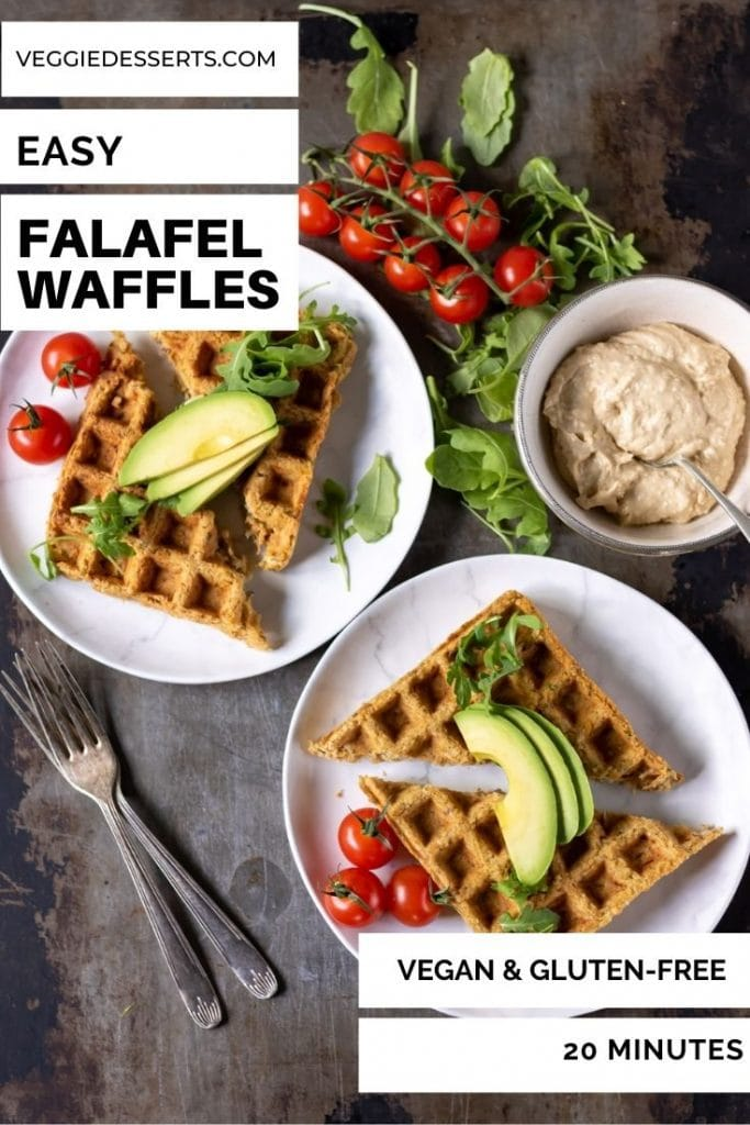 Plates of falafel waffles with salad, text reads: Easy Falafel Waffles.