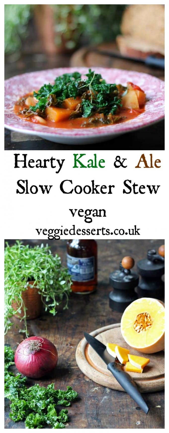 Kale and Ale Slow Cooker Stew is easy to make and full of flavour. It's a hearty vegan and gluten free stew that's packed with veggies. Just add the ingredients to the slow cooker and await a bowl of fragrant stew. #vegan #veganrecipe #slowcooker #veganslowcooker #recipe