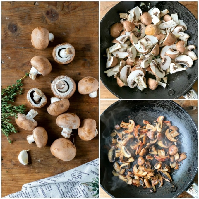 How to make mushrooms on toast recipe - step by step. Heat the butter in a hot pan, add the mushrooms, garlic and thyme. Sautee until the juices evaporate. Serve on toast.