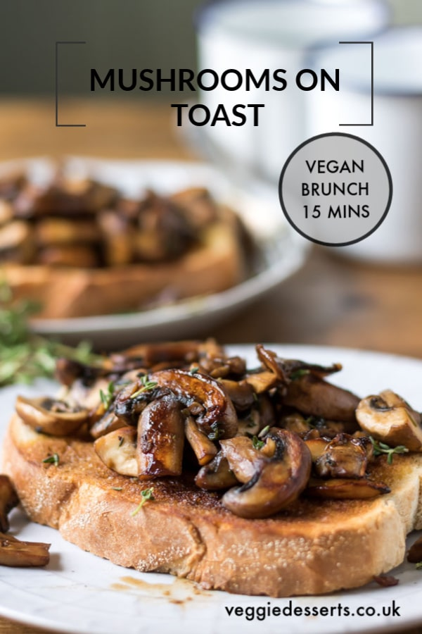 Mushrooms on toast is a quick, easy and flavourful vegetarian or vegan brunch or breakfast recipe. It's even great as a lunch or dinner. Less than 150 calories per portion! #mushrooms #mushroomsontoast #veganbreakfast #veganbrunch