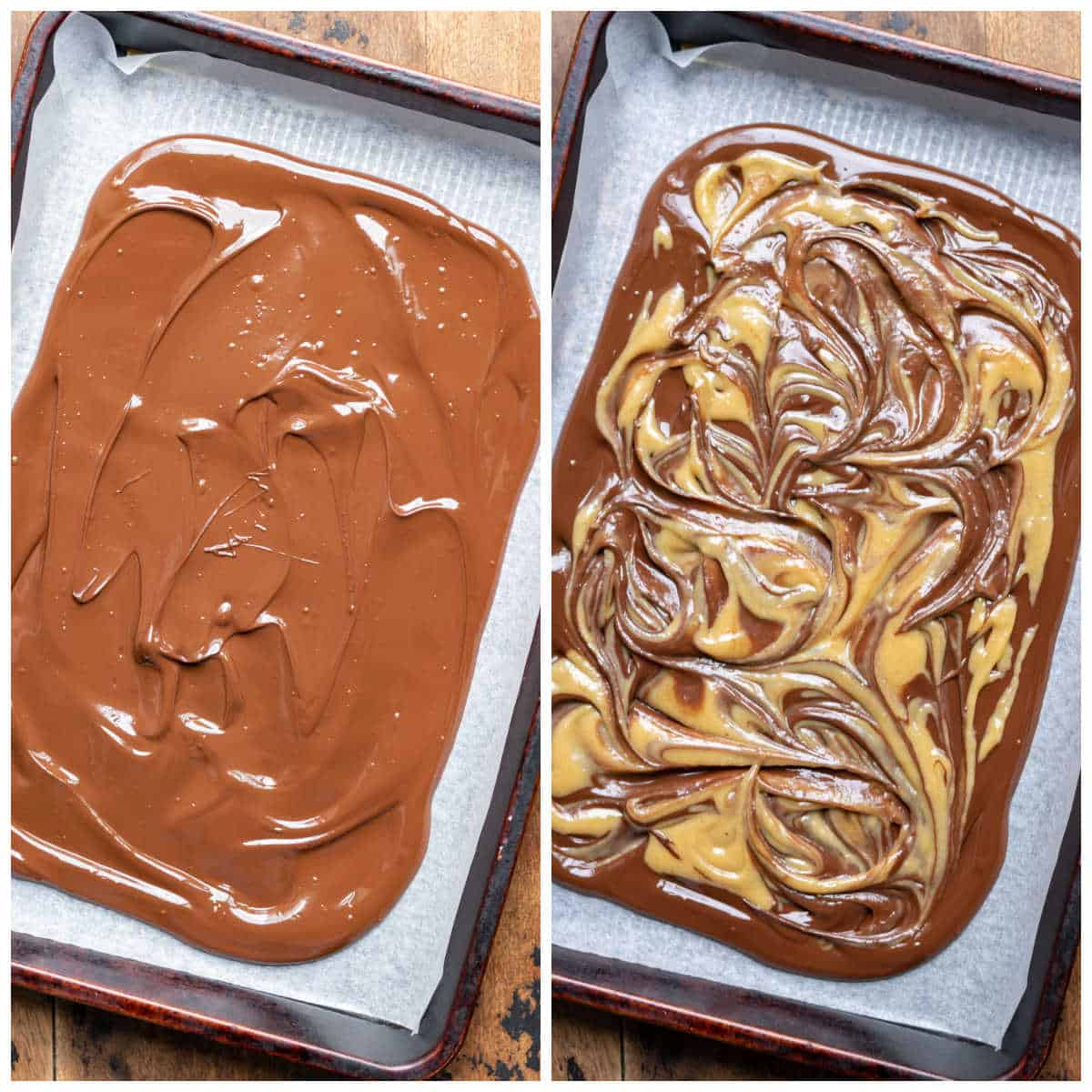 Melted chocolate spread onto a cookie sheet and white chocolate swirled in.