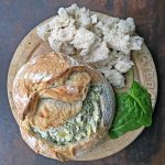 Hot Spinach and Artichoke Dip in a Sourdough Bread Bowl