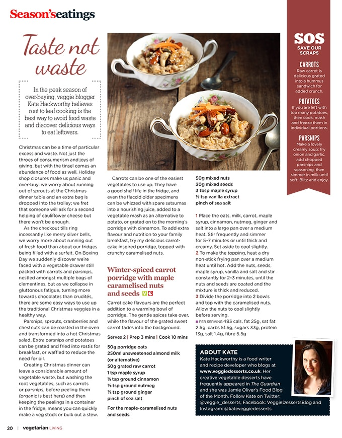 Vegetarian Living December Article | Kate Hackworthy | Winter-Spiced Carrot Porridge with Maple Caramelised Nuts and Seeds