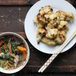 Cauliflower Leaf Miso Soba Soup + Miso Roasted Cauliflower