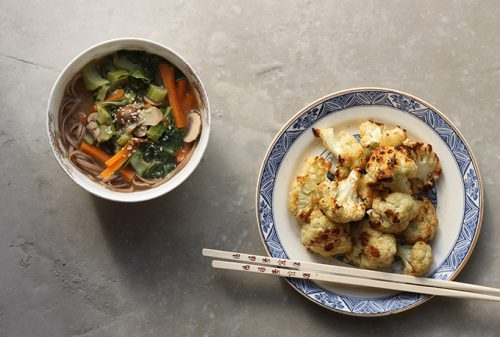 Cauliflower Leaf Miso Soba Soup + Miso Ginger Roasted Cauliflower   Vegan   Veggie Desserts Blog