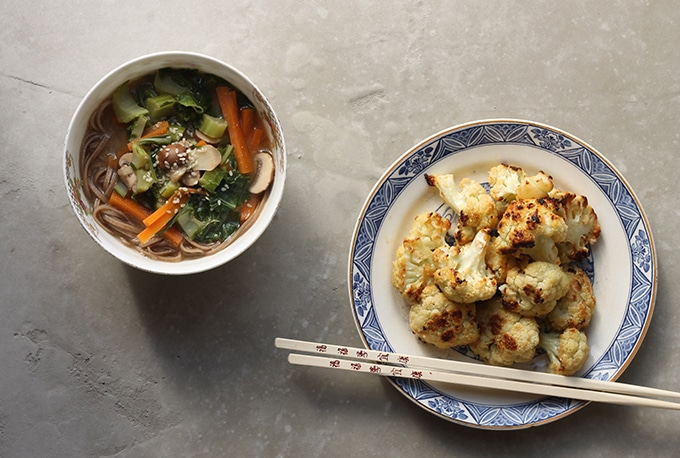 Cauliflower Leaf Miso Soba Soup + Miso Ginger Roasted Cauliflower | Vegan | Veggie Desserts Blog