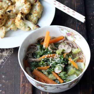 Cauliflower Leaf Miso Soba Soup + Miso Ginger Roasted Cauliflower | Vegan | Veggie Desserts Blog