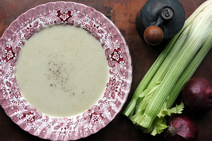 Celery Apple and Blue Cheese Soup in a bowl