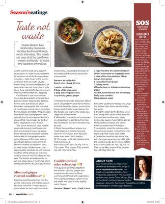 Cauliflower Leaf Miso Soba Soup + Miso Ginger Roasted Cauliflower | Vegan | Veggie Desserts Blog | Vegetarian Living Magazine Columnist