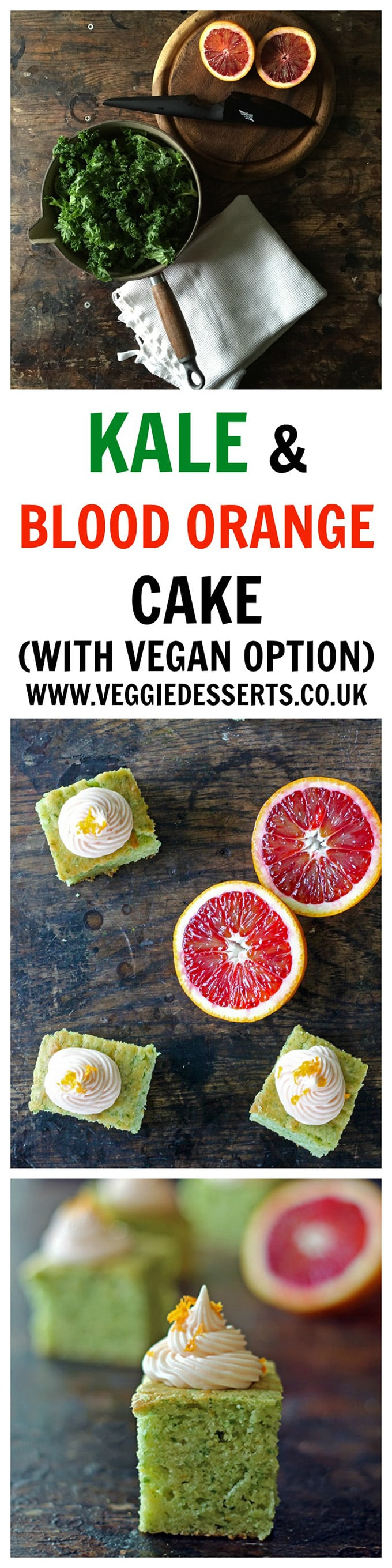Pieces of cake on a table, with the text: Kale Orange Cake with vegan option.