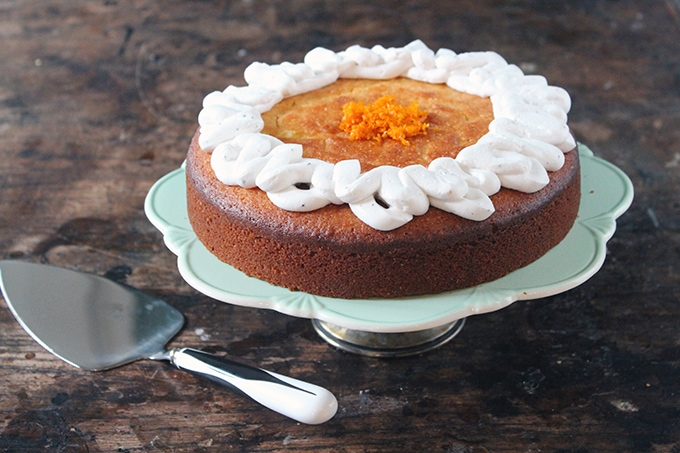 Almond and Orange PAN Corn Flour Cake with Cardamom Coconut Cream | Gluten-Free | Veggie Desserts Blog
