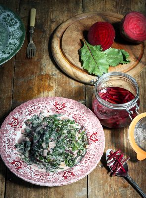 Beet Leaf Callaloo (Beet Leaves with Chilli and Coconut Milk side dish) + Quick Pickled Rosemary Beet Stems | Veggie Desserts Blog