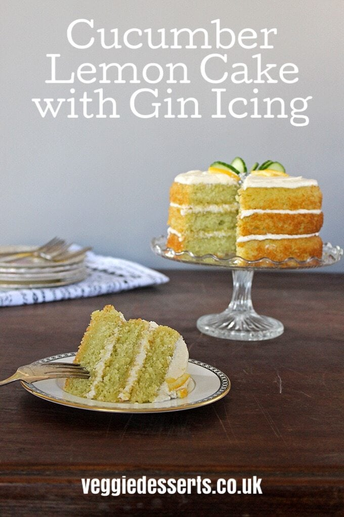 This delicate green cucumber cake tastes like a lemon sponge with a subtle, refreshing flavour from the cucumber. The gin gives light botanical flavours to the sweet icing to compliment the lemon and cucumber in the cake. #vegetablecake #cucumbercake #ginicing