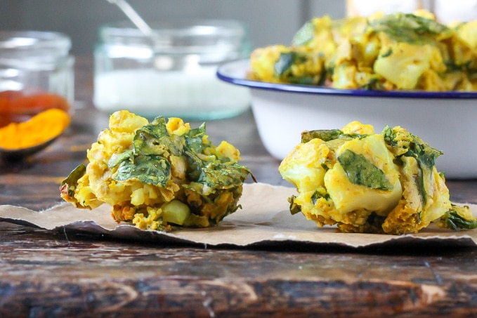Close up of two quick and easy vegetable pakoras recipe is vegan and gluten free.