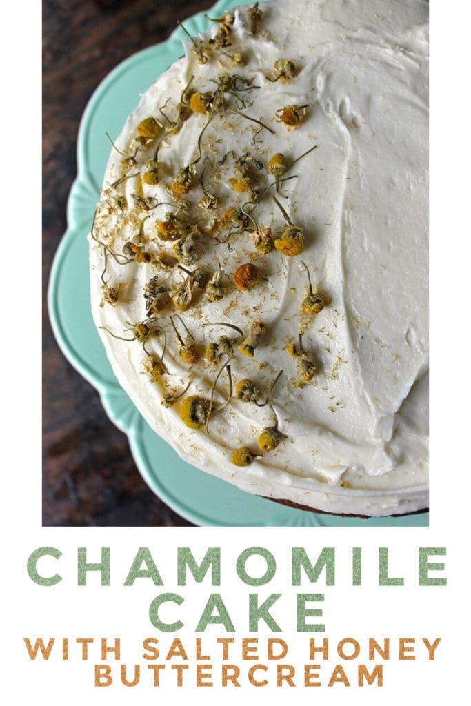 pinnable image for Chamomile Cake with Salted Honey Frosting recipe