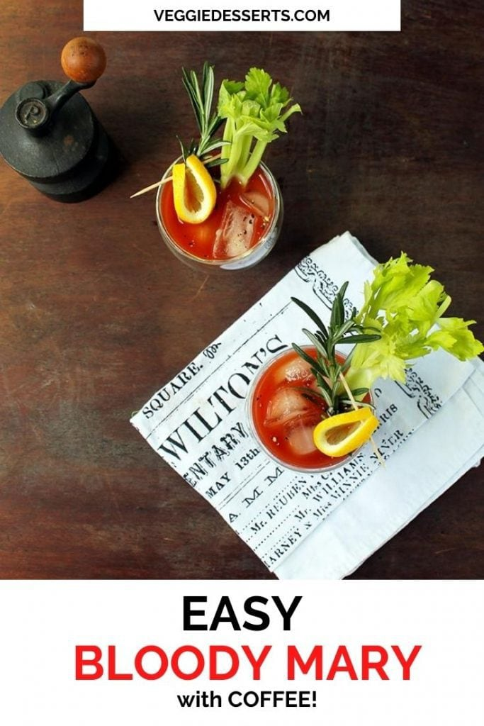 Glass of bloody mary, with text overlay.