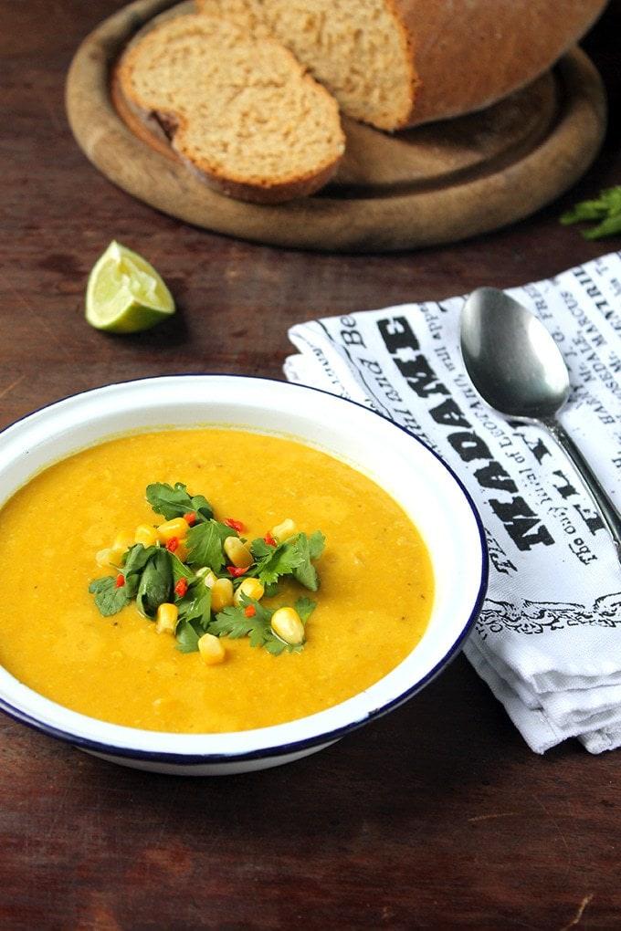 bowl of corn soup.