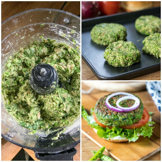How to make spinach pea burgers (veggie burgers)
