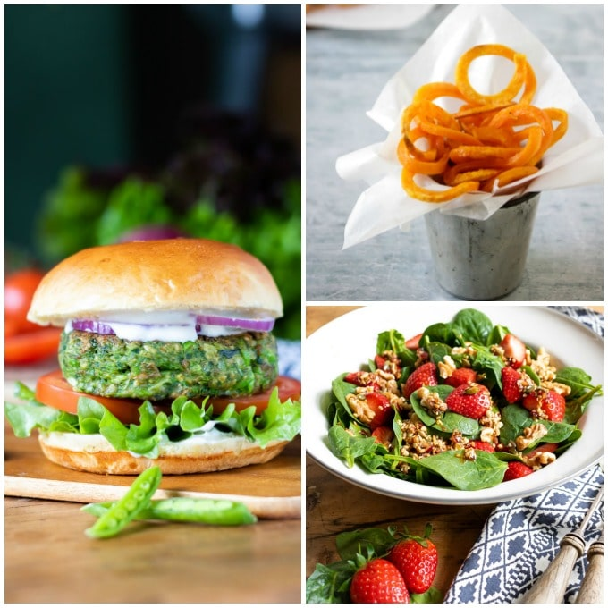 Make a meal out of spinach pea burgers - shown with sweet potato fries and spinach salad.