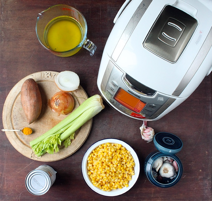 Redmond Multi Cooker and ingredients for vegan corn chowder