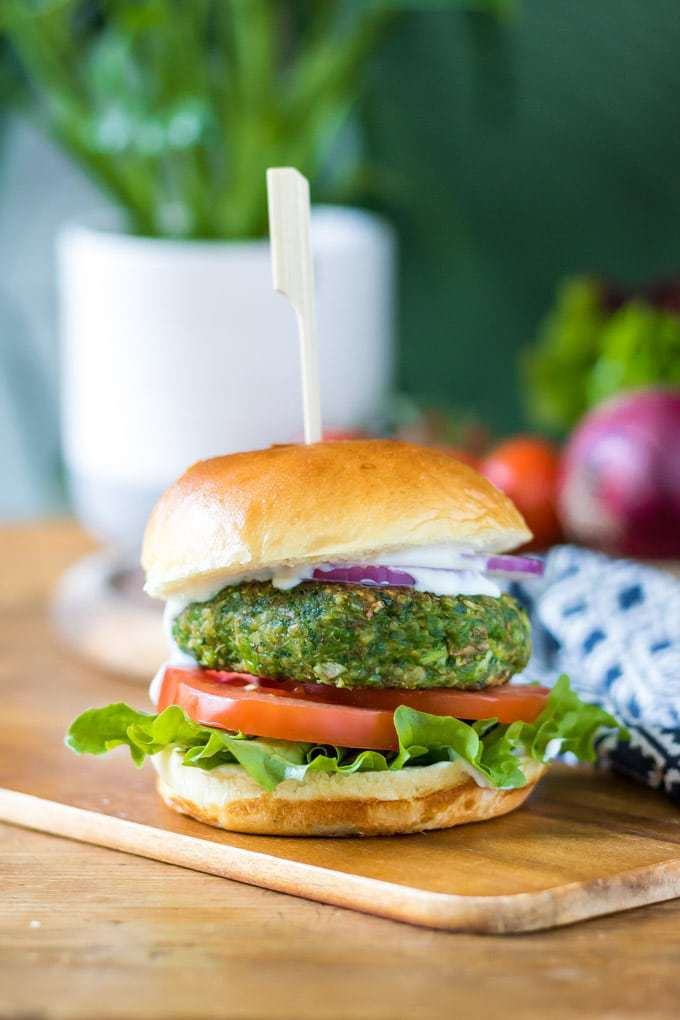 Spinach and Pea Burgers