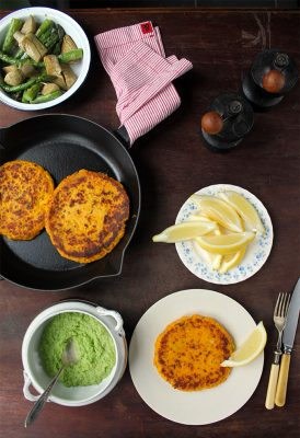 Sweet Potato Cakes with Vegetables and Pea Puree | Veggie Desserts Blog
