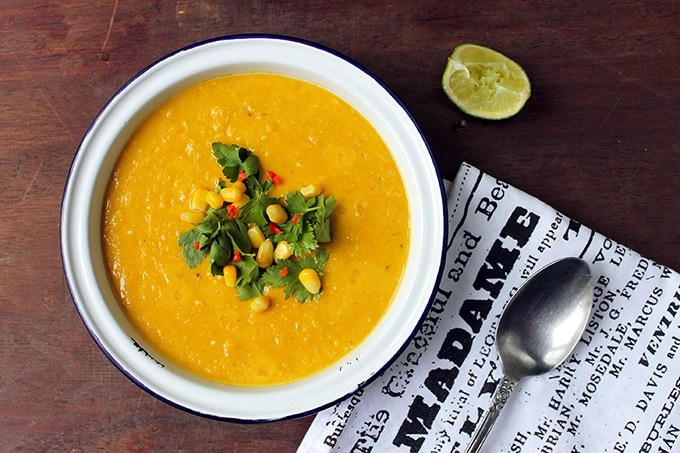 A bowl of vegan corn chowder is a filling and fragrant thick soup, lightly spiced with a bit of chilli -