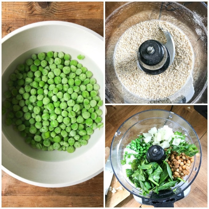 Collage: 1: bowl of peas, 2 oats in food processor, 3, other ingredients added.