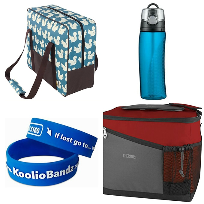 Collage of camping items.