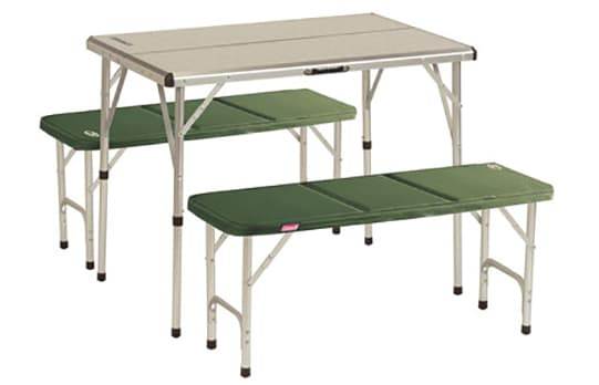 A camping folding picnic table.
