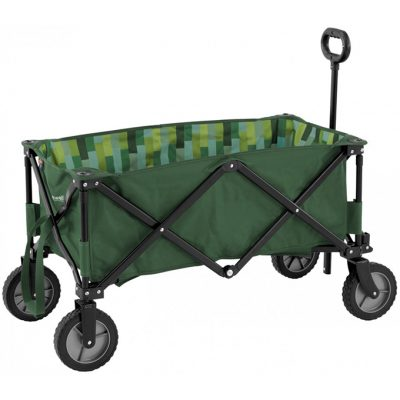 A close up of a green handcart.
