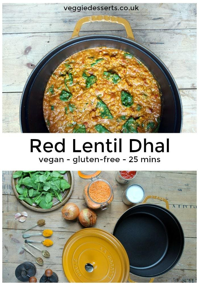 Ready in less than 25 minutes, this quick and flavourful red lentil dahl is a great midweek meal or alternative homemade curry. vegan & gluten free. #dal #dhal #dahl #glutenfreevegan #redlentil
