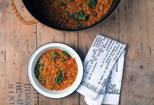 A bowl of easy, vegan Red Lentil Dal. Ready in 30 minutes with store cupboard ingredients.