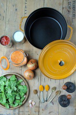 Ingredients for easy one-pot vegan Red Lentil Dal.