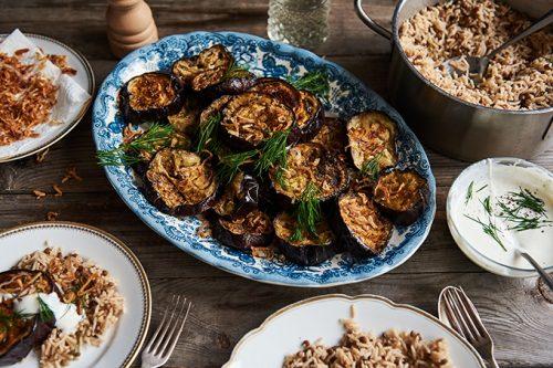 Olia Hercules' Spiced Aubergine Mujadarra with Shallot Garnish and Yogurt | Veggie Desserts Blog