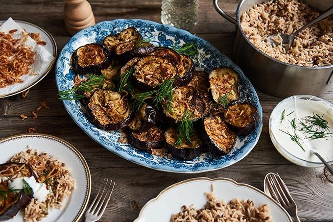 A large serving platter of eggplants.