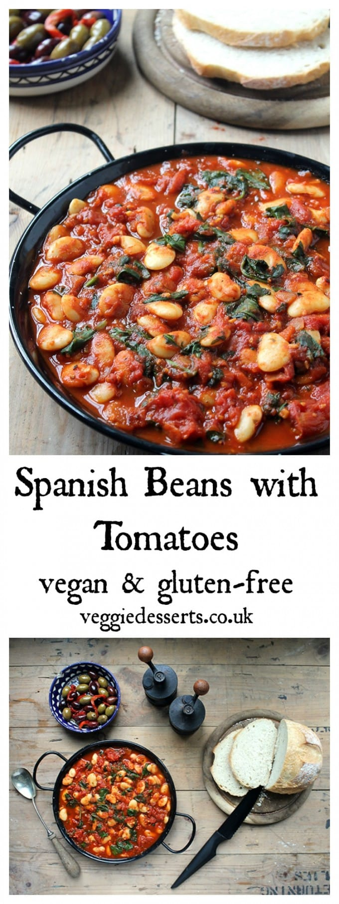 These Spanish beans with tomatoes and smokey sweet spices are so easy to make in less than 20 minutes. They're perfect as tapas, main meals or a side dish. Vegan and gluten-free. #spanishbeans #spanishrecipe #tapasrecipe #tapas #vegan #glutenfreevegan