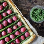 Roasted Radish and Asparagus Tart with Kale Pesto