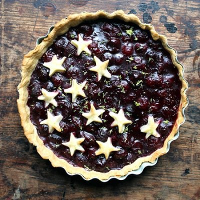 Lime and Fresh Cherry Pie | Veggie Desserts Blog