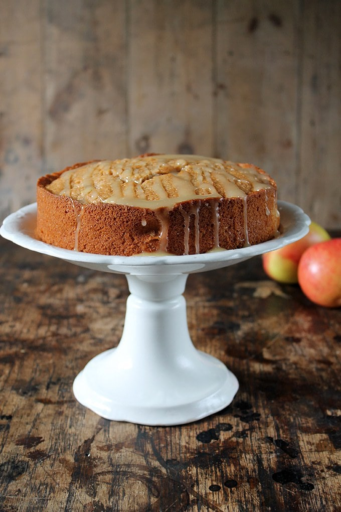 Apple Cider Cake with Salted Cider Caramel Drizzle   Veggie Desserts Blog