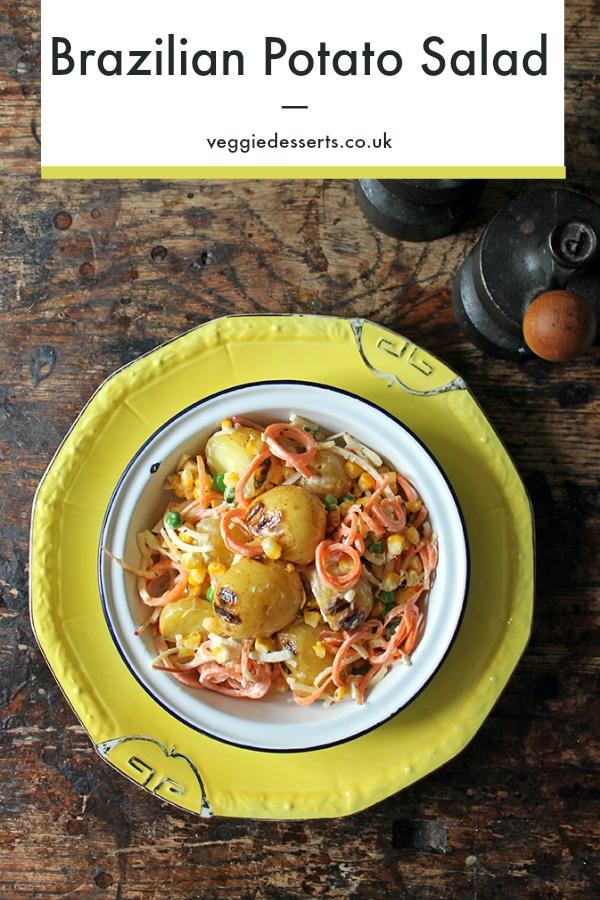 Pinterest pin - bowl of Brazilian Gaucho potato salad