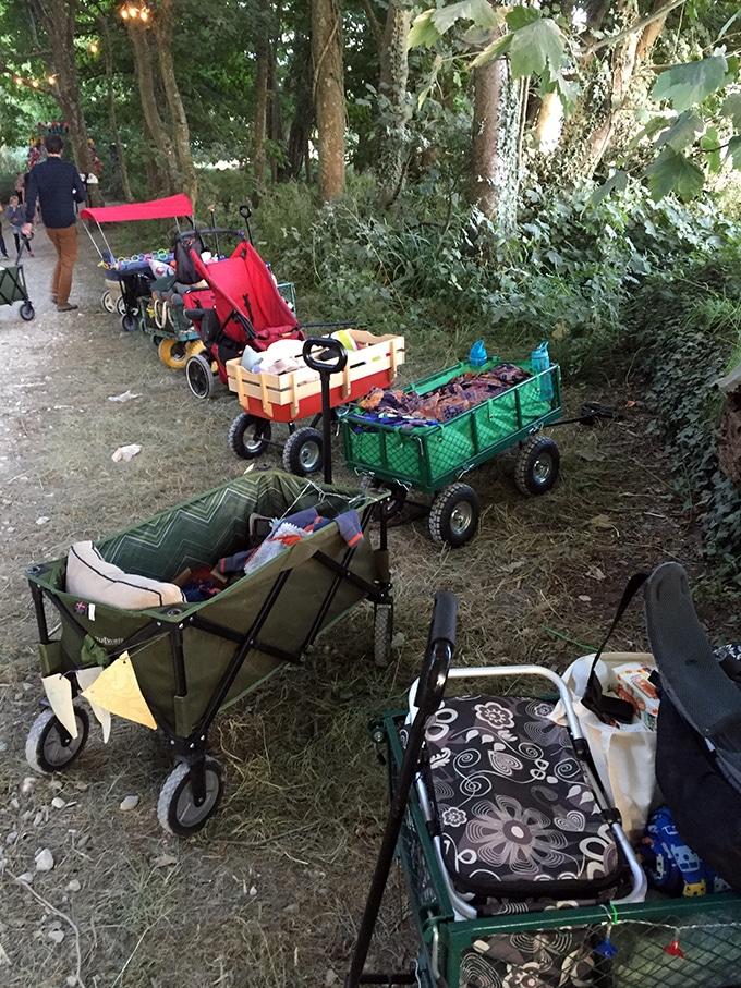 Trolleys in a woodland.
