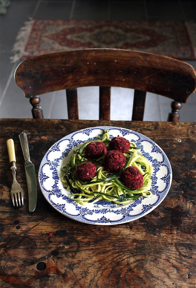 Courgetti and Beet Balls | The earthy beetroot makes a great base along with walnuts in these tasty beet balls. A wonderful vegan alternative and great midweek meal.