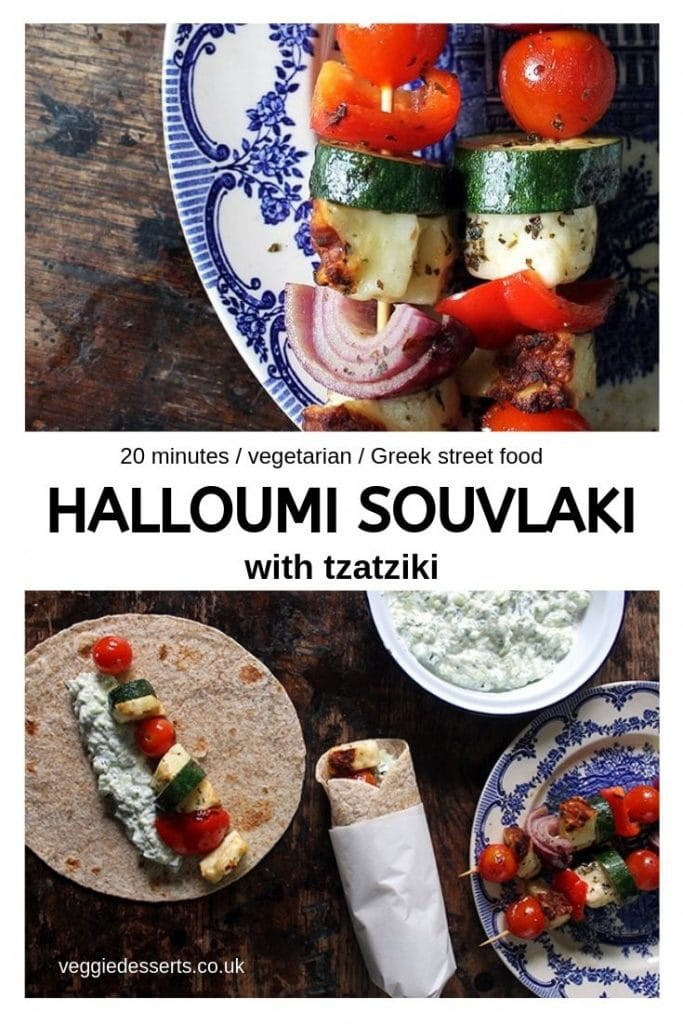 pinnable image for halloumi vegetarian souvlaki recipe