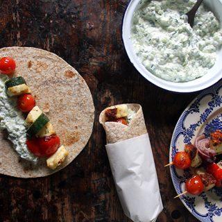 Halloumi Souvlaki with Tzatziki | Veggie Desserts Blog